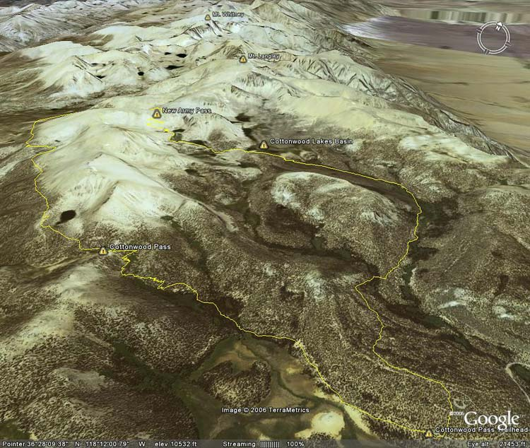 Google Earth image of GPS trace of Cottonwood Pass - New Army Pass Loop.