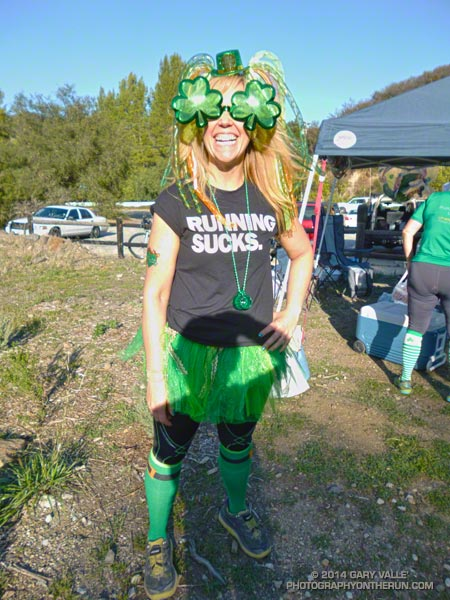 Debbie, one of the very helpful leprechauns at the Kanan Water Station. About mile 37.