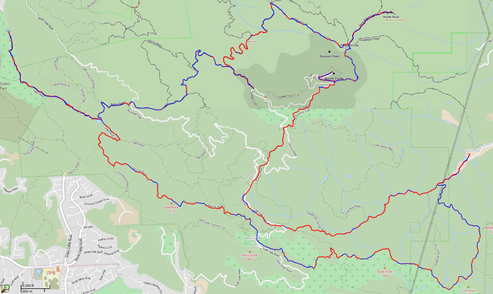 The ups (red) and downs (blue) of the Mt. Diablo Trails Challenge 50K. Note: Ups and downs may be reversed on out and back sections. Created in SportTracks using my GPS track.