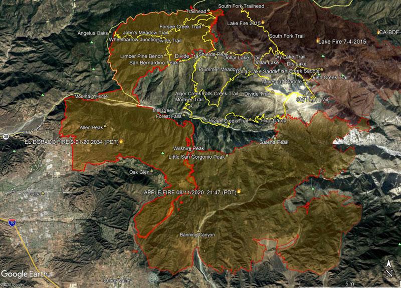 Apple Fire Perimeter and San Gorgonio Trails