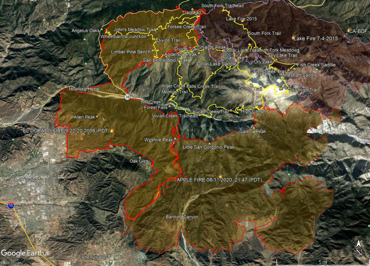 A Google Earth image of El Dorado and Apple Fire perimeters and some of the trails in the San Gorgonio Wilderness. The perimeter is from the National Interagency Fire Center (NIFC) and its timestamp is indicated. The locations of all placemarks and trails are approximate.