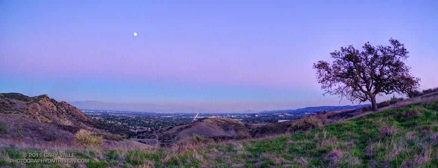 Moonrise over the San Fernando Valley from El Escorpion Park. From a late afternoon run on December 8. The moon is about 98% full, and about a day and a half away from the total lunar eclipse that occurred before sunrise on December 10, 2011.