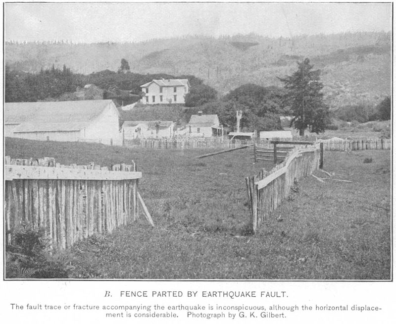 Fence near Bolinas offset by about 10 feet by the 1906 San Francisco Earthquake. Photograph by G.K. Gilbert from USGS Bulletin No. 324, THE SAN FRANCISCO EARTHQUAKE AND FIRE OF APRIL 18, 1906 AND THEIR EFFECTS ON STRUCTURES AND STRUCTURAL MATERIALS.