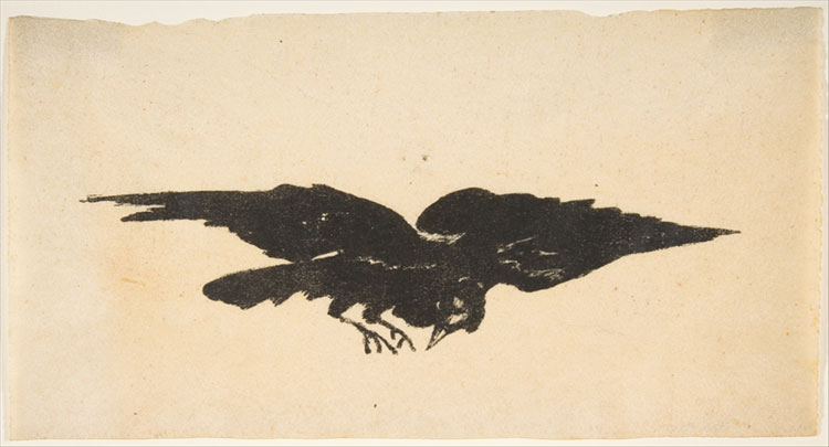 The Flying Raven, Ex Libris for The Raven by Edgar Allan Poe,1875, Édouard Manet, The Metropolitan Museum of Art.