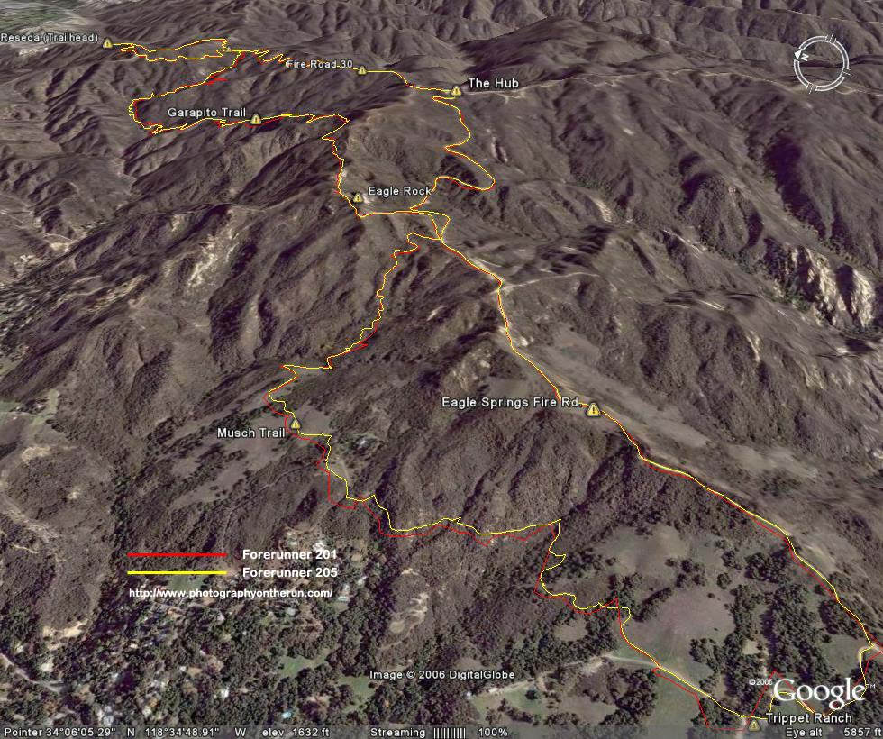 Google Earth image of GPS traces of the same course using a Forerunner 205 (yellow) and a Forerunner 201 (red).