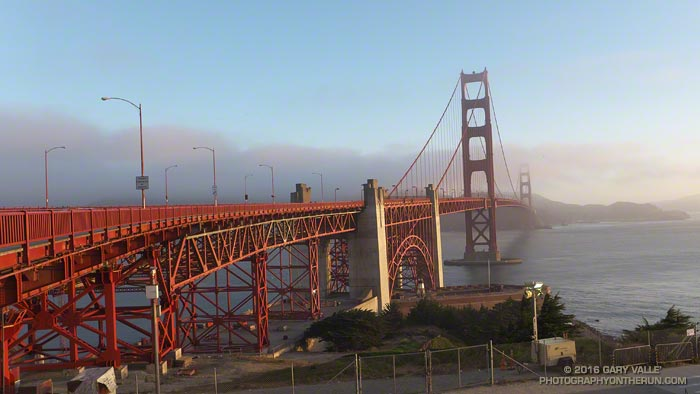 Early morning is a great time to run across the Golden Gate Bridge. You can offset the Bridge's hard concrete sidewalks with a stint on the Coastal Trail when you reach the other side.