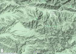 Google Terrain map showing San Emigdio Mesa and my route from Mt. Pinos