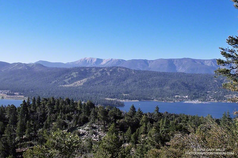 Big Bear Lake, Snow Summit Ski Area and San Gorgonio Mountain from the Cougar Crest overlook at about mile 2.4 of the 7/15/33 mile courses.