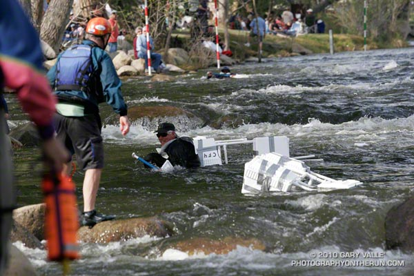 A new event at the 2010 Kern River Festival, the Hooligan Boat Race, was a spectator and participant favorite. Not all boats made it to the finish line.