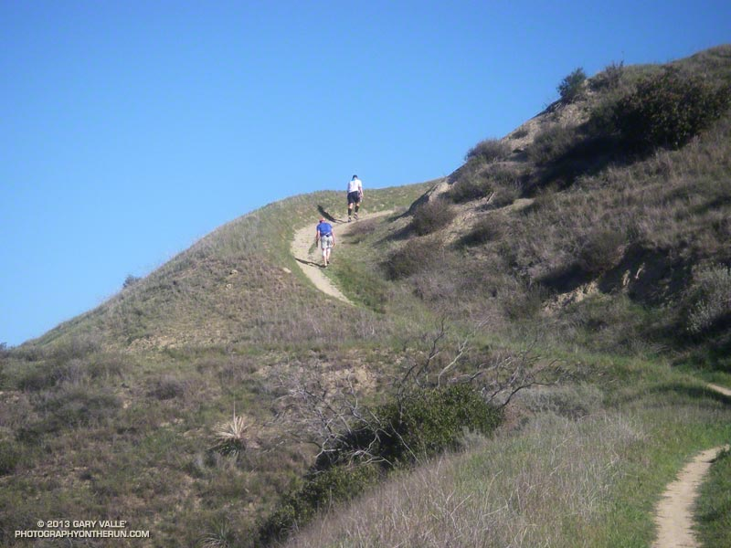 Bandit 50K runners climbing up Hot Dog Hill at about mile 10 on the new out and back section of the 50K course.
