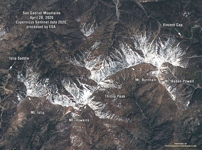 Satellite imagery of snow along the crest of the San Gabriel Mountains, April 28, 2020.