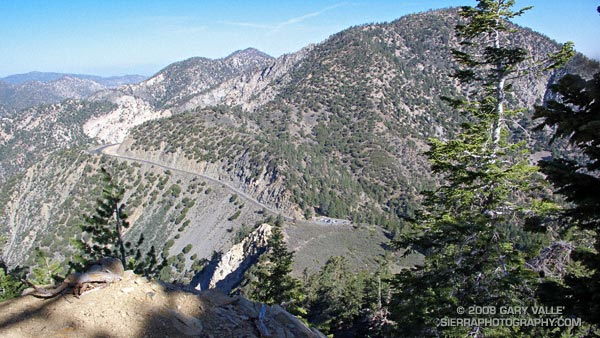 Angeles Crest Highway and the Islip Saddle parking area from the northwest ridge of Mt. Islip.