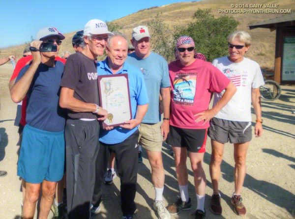 Jon with Councilmember Tom LaBonge, Chris Lucas (ND) and runners from back in the day at CSUN.