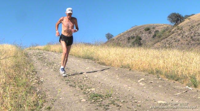 Jon Sutherland running at Ahmanson Ranch on day 16,446 of his 45+ year running streak.