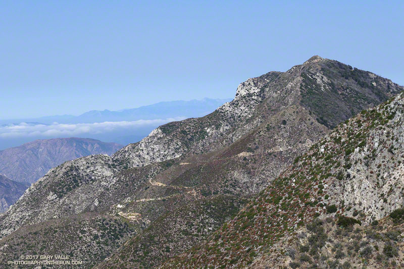 Josephine Peak and fire road. It is one of several peaks in the San Gabriel Mountains that used to have a fire lookout.