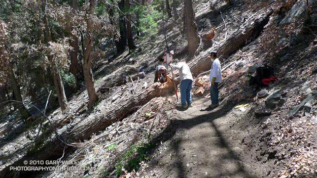 Trail work on the Kenyon Devore Trail after the Station Fire.