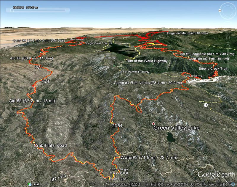 Google Earth snapshot of 2013 Kodiak 100/50 courses from the Aid #4 (60.9 mi/11.8 mi) to Camp #4 (78.4 mi/29.2 mi). Placemark locations and mileages are approximate.