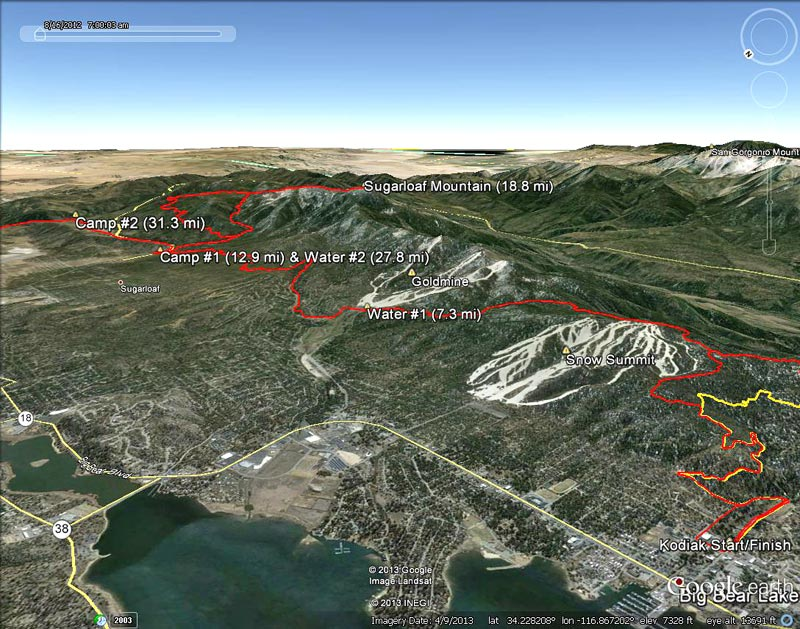 Google Earth snapshot of 2013 Kodiak 100 course from the Start to Camp #2 (31.3 mi). Placemark locations and mileages are approximate.