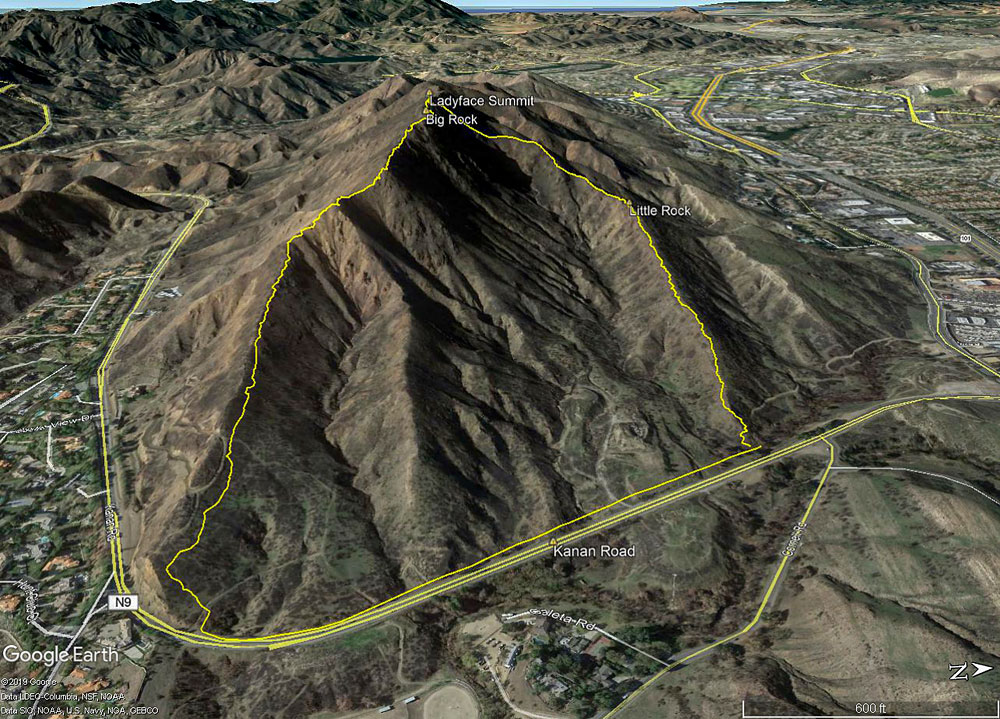A Google Earth image of Ladyface from the east, showing a GPS track of my route up (right) and down (left). The most common way up/down the peak is the ridge on the left.