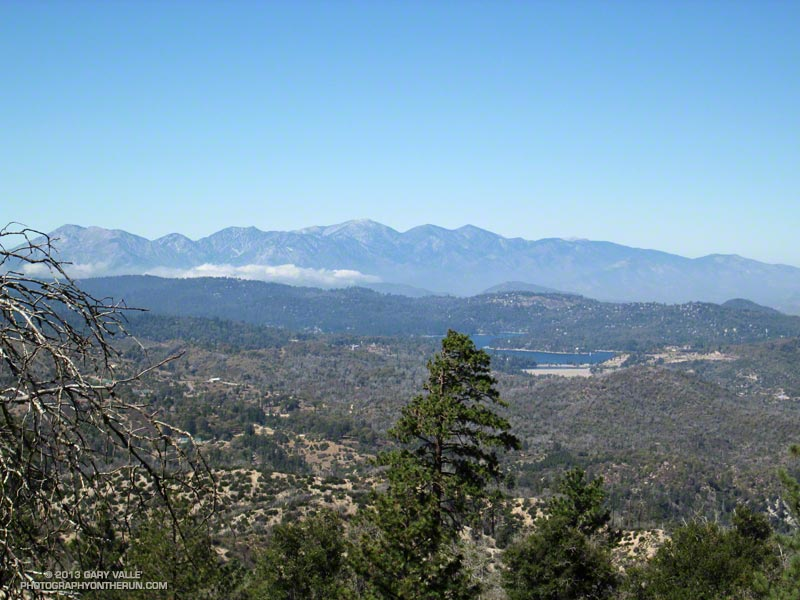 Mt. Baldy area peaks and Lake Arrowhead from Crab Flats Road. About 22.1 miles into the 2013 Kodiak 50 mile.
