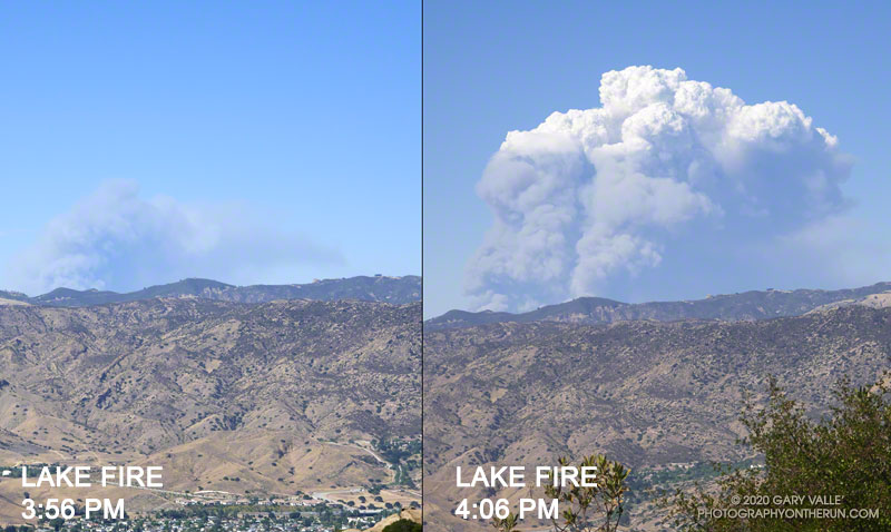 Development of Lake Fire pyrocumulus cloud over 10 minutes
