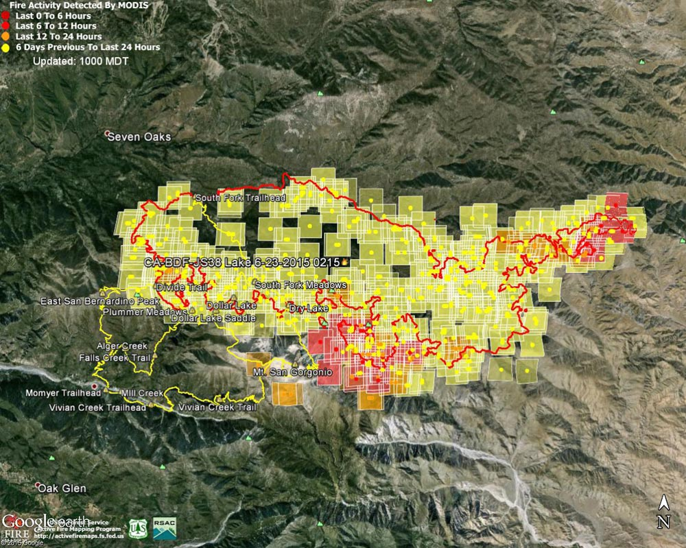 Google Earth image of 2015 Lake Fire MODIS fire detections as of 06/24/15 1000 MDT and the fire perimeter from GEOMAC timestamped 06/23/15 0215. Placemark locations are approximate. The yellow GPS tracks show some of the trails in the area.