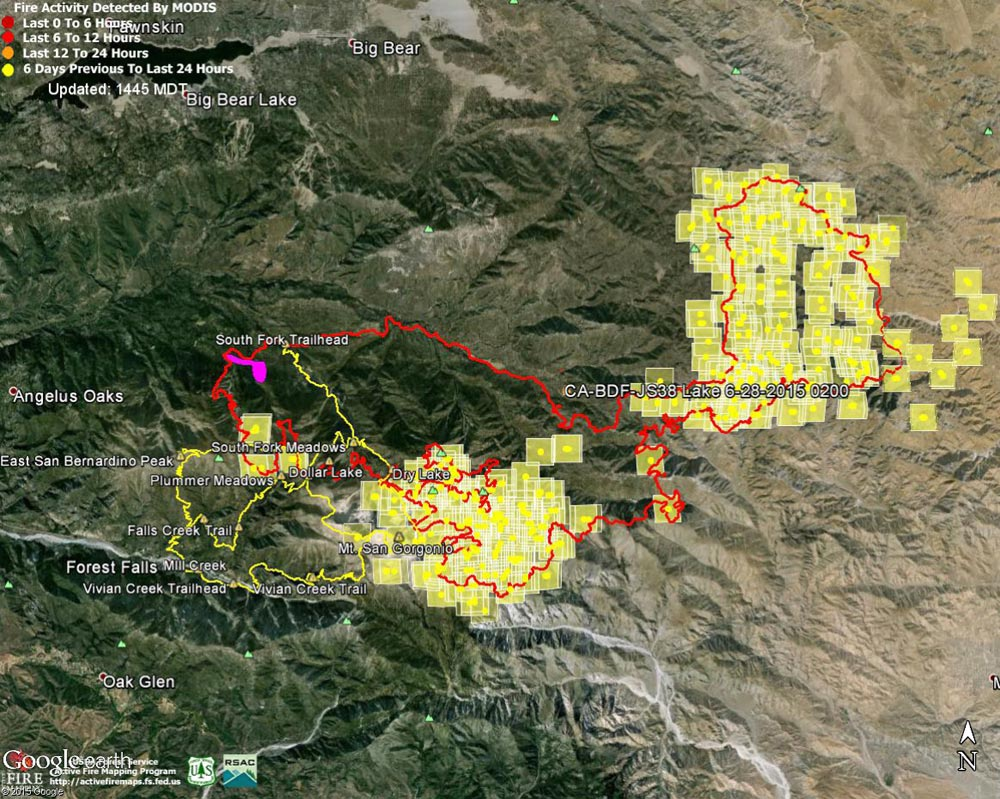 Google Earth image of 2015 Lake Fire MODIS fire detections as of 06/28/15 1445 MDT and the fire perimeter from GEOMAC timestamped 06/28/15 0020. Placemark locations are approximate. The yellow GPS tracks show some of the trails in the area. The small magenta area on the NW of the fire perimeter is the initial perimeter from GEOMAC timestamped about 8 hours after the fire was reported.