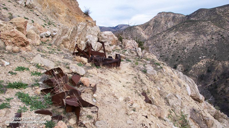 Bits and pieces of rusted mining equipment on a trail in Las Llajas Canyon.