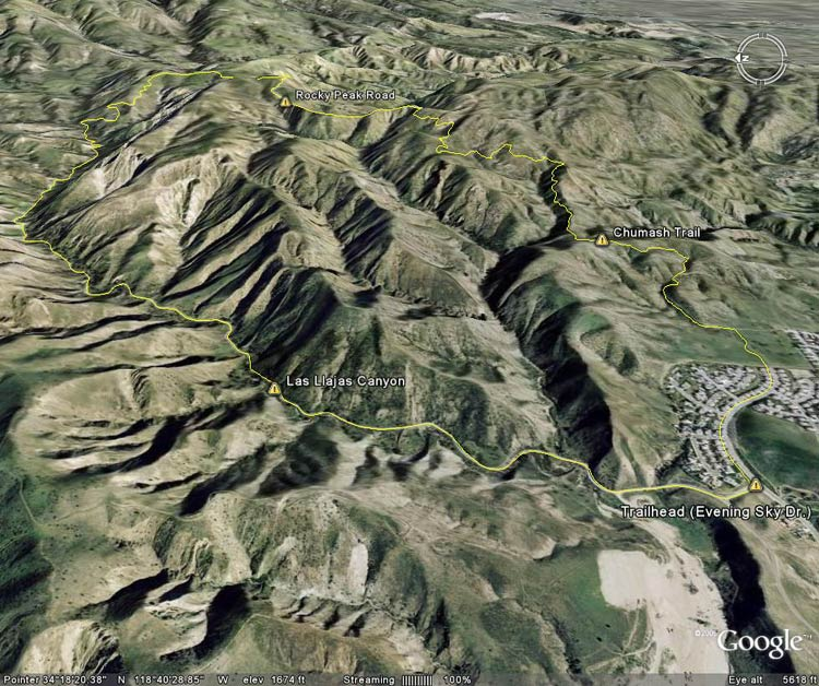 Google Earth image of Chumash-Las Llajas loop.