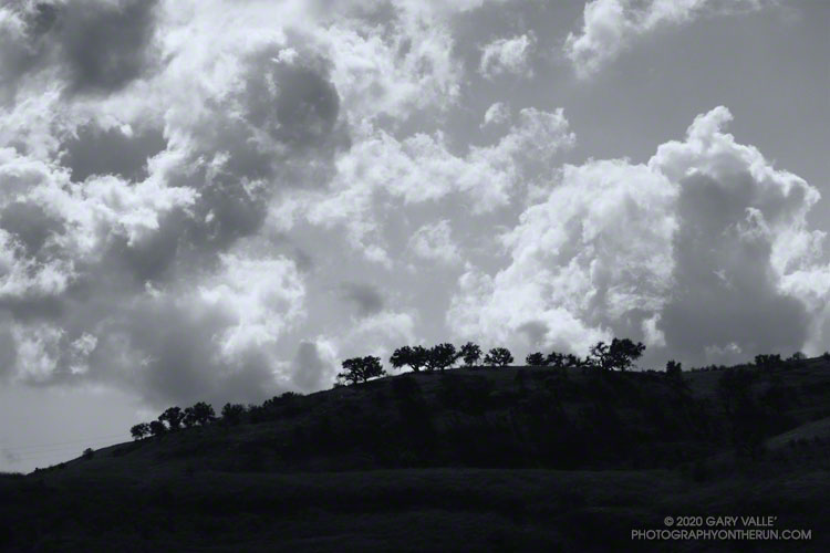 Clouds over a ridge west of Las Virgenes Canyon
