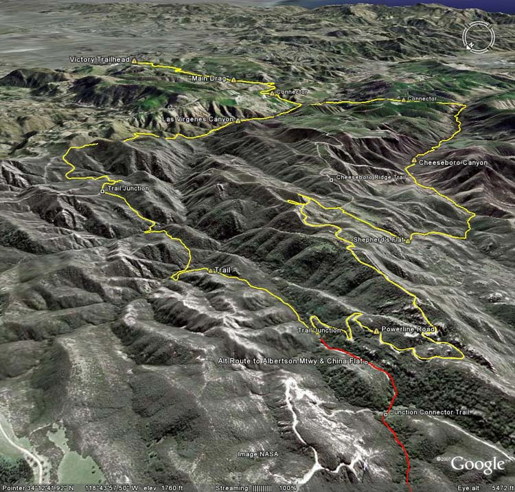 Google Earth image of Upper Las Virgenes Canyon keyhole loop.