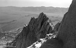 Serrated section of the Northeast Ridge of Lone Pine Peak. July 1982.