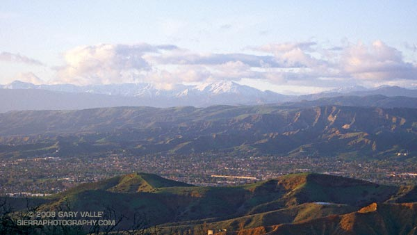 Simi Valley, with the snowy mountains of Los Padres National Forest beyond.