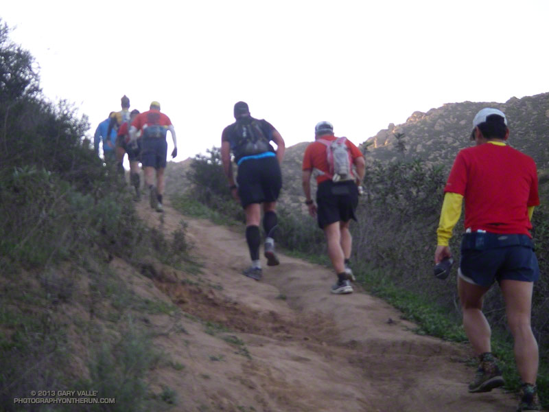 Runners in the Bandit 50K working up the first steep switchbacks of the Lower Stagecoach Trail at about mile 1.7. The