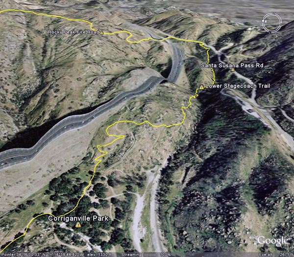 Google Earth image of a GPS trace of the Lower Stagecoach Trail.