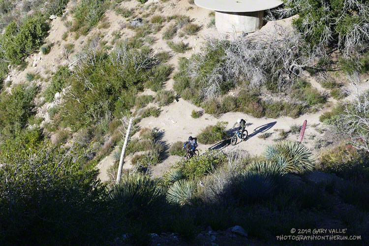 Mountain bikers at Josephine Saddle on the west side of Strawberry Peak. I'd see them again at Lawlor Saddle, on the east side of the peak.