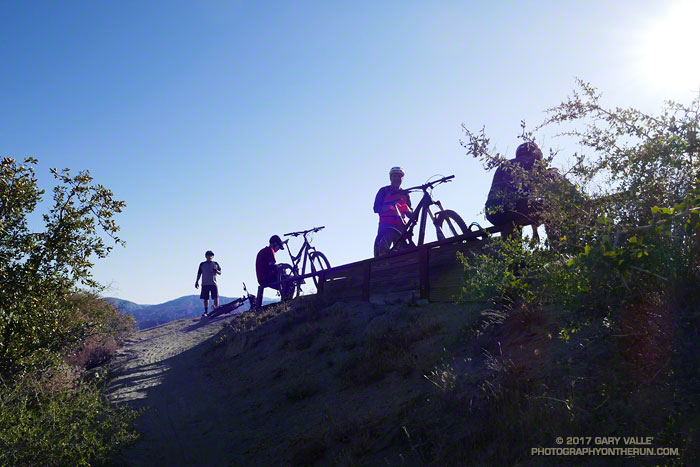 Mountain bikers taking a break on the Strawberry Peak Trail.