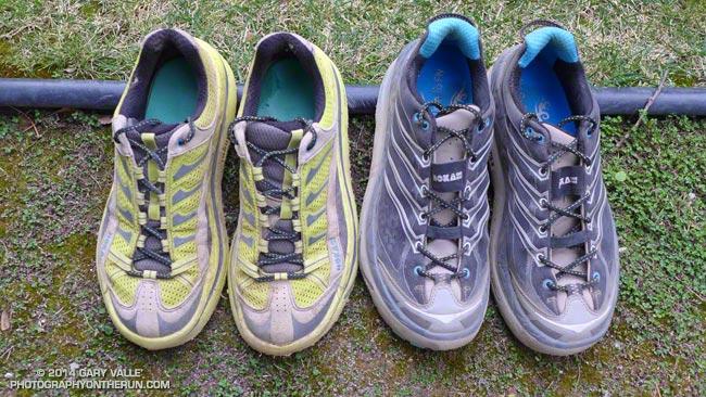 Hoka One One Mafate 2 (left) and Mafate 3 Trail Running Shoes