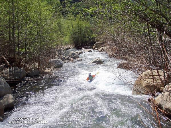 Gary Gunder paddling Upper Matilija Creek.