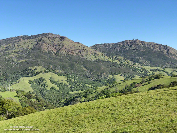 Mount Diablo (left) and North Peak from Knobcone Pine Road.