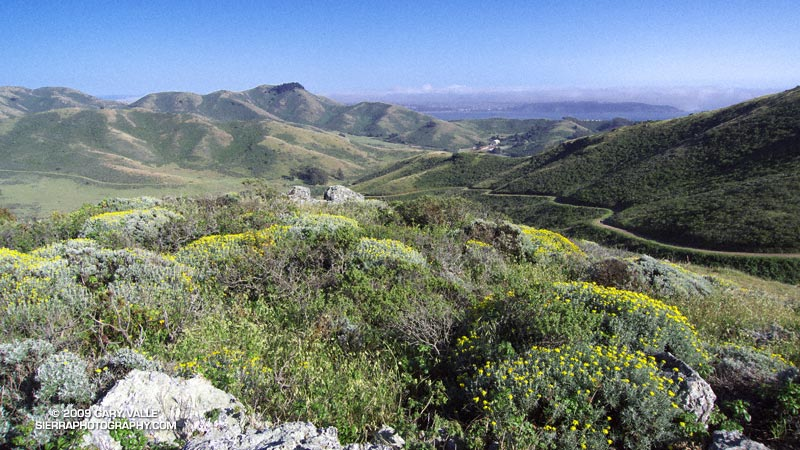 View south from Miwok Trail overlook in the Marin Headlands to San Francisco.