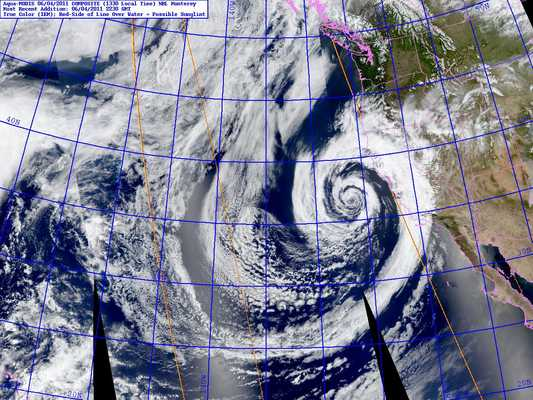 Composite Aqua MODIS satellite image of unseasonably strong low pressure system off the Central California coast Saturday, June 4, 2011.