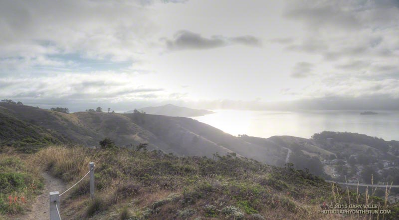 Early morning view of the bay and Alcatraz and Angel Island from the SCA Trail.
