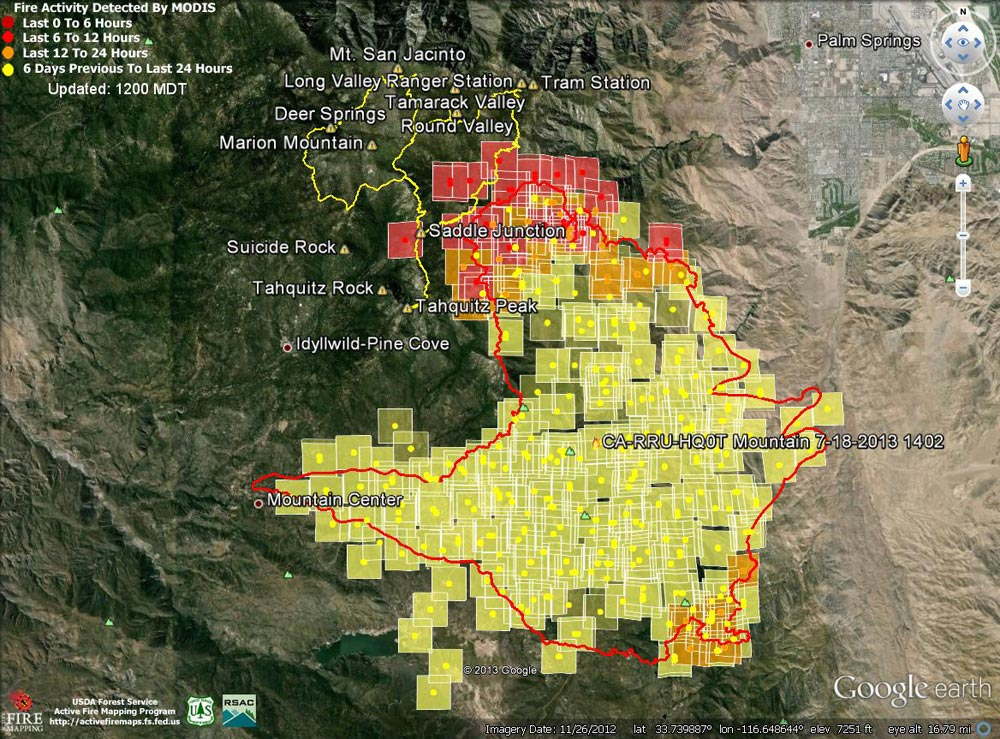 Google Earth image of 2013 Mountain Fire MODIS fire detections as of 07/19/13 1200 MDT. Also included is the fire perimeter from GEOMAC timestamped 07/18/13 1402. Placemark locations are approximate. GPS tracks (yellow) from various runs have been added to mark some of the trails on San Jacinto Peak.