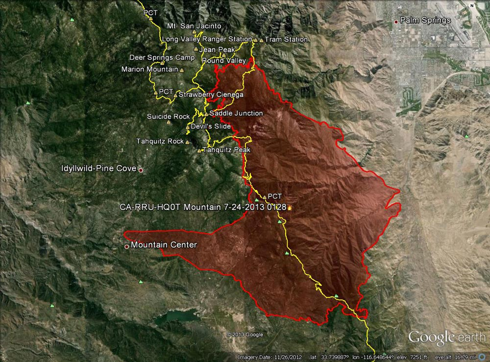 Google Earth image of 2013 Mountain Fire perimeter from GEOMAC timestamped 07/24/13 0128. Placemark locations are approximate. GPS tracks (yellow) of some of the area's trails have been added.