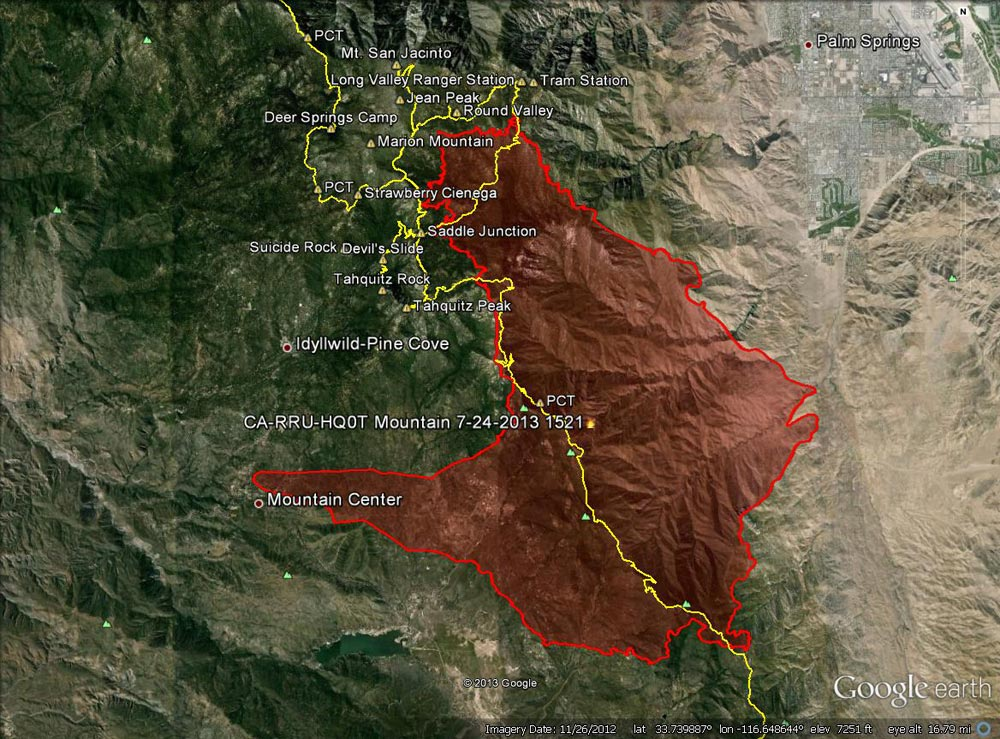 Google Earth image of 2013 Mountain Fire perimeter from GEOMAC timestamped 07/24/13 1521. Placemark locations are approximate. GPS tracks (yellow) of some of the area's trails have been added.