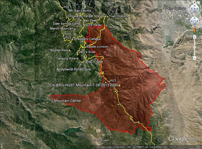 Mountain Fire perimeter from GEOMAC timestamped 07/28/13 0230