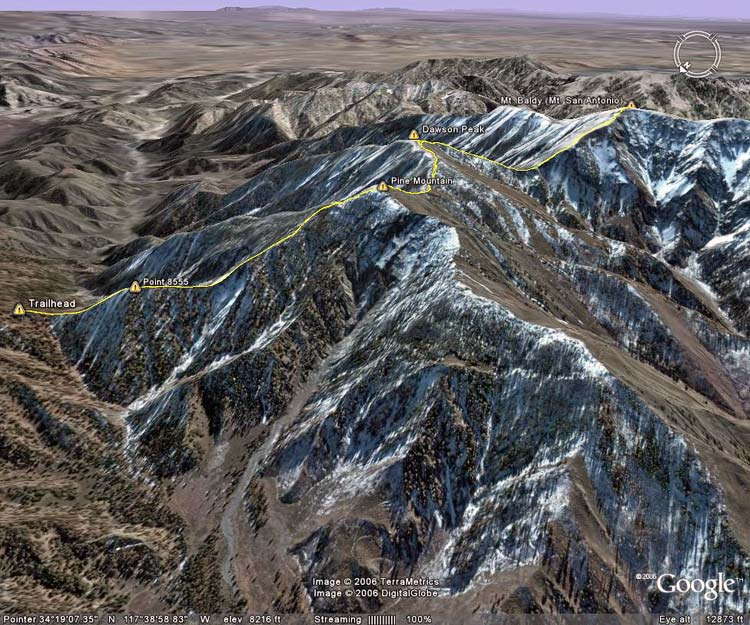 Google Earth image of the Mt. Baldy North Backbone Trail.