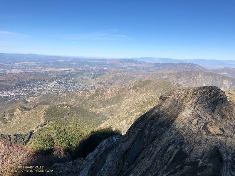 View west from Mt. Lukens, across the Crescenta and San Fernando Valleys.