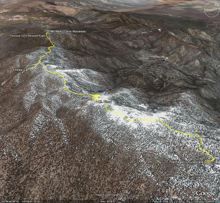 Google Earth image of a GPS trace of the route from the Mt. Pinos Chula Vista trailhead to Mt. Abel and back.